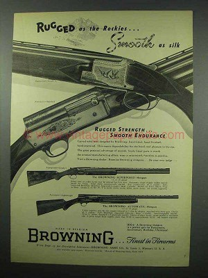 1952 Browning Superposed Grade II Shotgun Ad