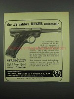 1952 Ruger Standard Pistol Ad - .22 Automatic