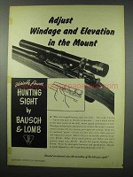 1951 Bausch & Lomb Variable Power Hunting Sight Ad - Adjust