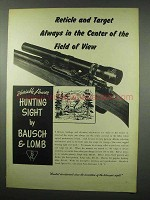 1951 Bausch & Lomb Variable Power Hunting Sight Ad - Field of View