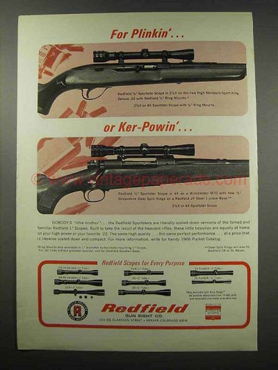 1967 Redfield Sportster Scope Ad - For Plinkin'