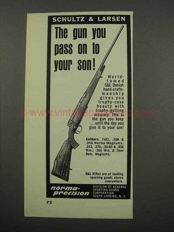 1966 Schultz & Larsen Rifle Ad - Pass On To Your Son
