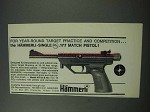 1965 Hammerli Single .177 Match Pistol Ad - Year-Round