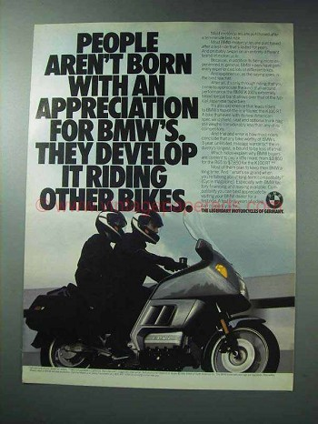 1986 BMW Motorcycles Ad - Aren't Born With Appreciation