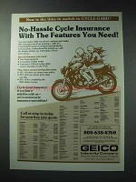 1986 Geico Cycle-Gard Motorcycle Insurance Ad