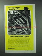 1986 Buck Knives Ad - All Shapes, All Sizes