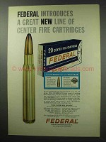 1963 Federal Center Fire Cartridges Ad - Great New Line