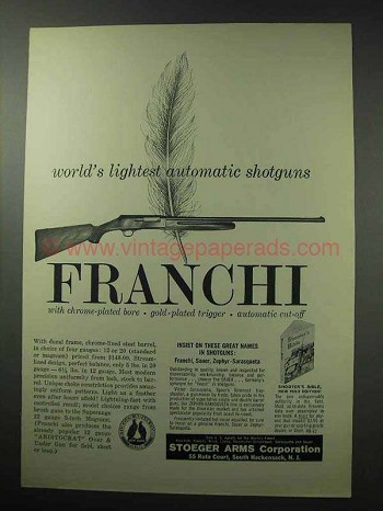 1962 Franchi Shotgun Ad - World's Lightest Automatic