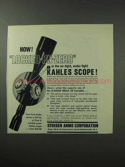 1962 Stoeger Arms Ad - Kahles Helia 39 Variable Scope