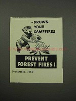 1960 Prevent Forest Fires Ad - Drown Your Campfires