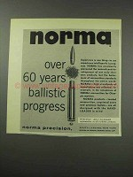1959 Norma Ammunition Ad - 60 Years Ballistic Progress