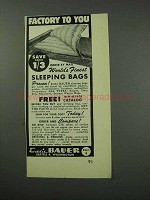 1959 Eddie Bauer Sleeping Bags Ad - Factory to You