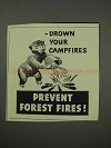 1959 Prevent Forest Fires Ad - Drown Your Campfires