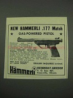 1959 Hammerli .177 Match Pistol Ad - Gas-Powered