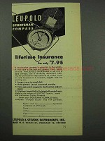1951 Leupold Sportsman Compass Ad - Lifetime Insurance