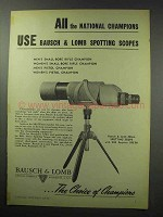 1950 Bausch & Lomb 60mm Spotting Scope Ad - Champions