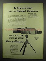 1950 Bausch & Lomb 60mm Spotting Scope Ad - Help Shoot