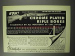 1950 Weatherby De Luxe Rifle Ad - Chrome Plated Bores