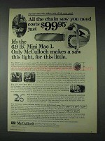 1973 McCulloch Mini Mac 1 Chain Saw Ad - All you Need