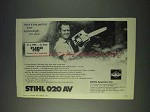 1972 Stihl 020 AV Chainsaw Ad - Perfect Lightweight