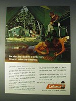 1970 Coleman Oasis Tent Ad - Built Like a Family Room