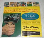 1958 Black & Decker Power Driver Ad - Revolutionary