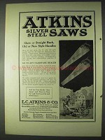 1922 Atkins Silver Steel Saws Ad - Skew or Straight