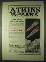 1922 Atkins Silver Steel Saws Ad - Carpenters