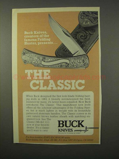 1981 Buck Knives The Classic Model 111 Knife Ad