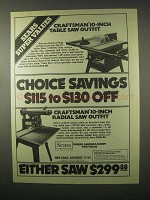 1979 Sears Craftsman 10-Inch Table and Radial Saw Ad