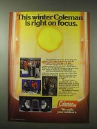 1984 Coleman Focus 5 and Focus 10 Heaters Ad