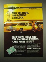 1984 Budget Rent a Car Ad - You Deserve a Lincoln