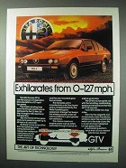 1984 Alfa Romeo GTV6 Car Ad - Exhilarates from 0-127mph