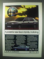 1984 Alfa Romeo 33 Car Ad - Powerful Family Motoring