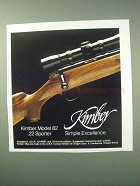 1983 Kimber Model 82 .22 Sporter Rifle Ad - Excellence