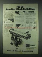1978 Sears Craftsman 10 inch Radial Saw Ad