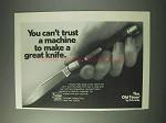 1978 Schrade Old Timer Knife Ad - Can't Trust a Machine