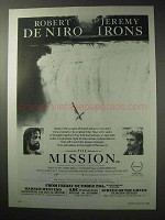 1986 The Mission Movie Ad -  Robert De Niro & Jeremy Irons