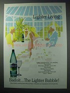 1986 Badoit Mineral Water Ad - Lighter Living