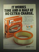 1986 Fram Extra Life Air Filter Ad - Time and A Half