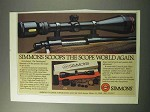 1986 Simmons Scopes Ad - Scoops the World Again