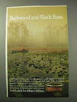 1986 Redwood Tobacco Ad - Redwood and Black Bass