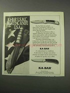 1986 Ka-Bar Knives Ad - U.S.M.C. Fighting Knife U.S.A.