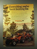 1985 Honda Big Red and FourTrax 250 ATV Ad - Hunting