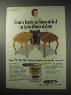 1985 Minwax Polyshades Finish Ad - Bare to Beautiful