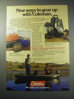 1985 Coleman Ad - Cooler, Lantern, Cradad Fishing Boat