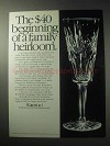 1985 Waterford Champagne Flute Ad - Family Heirloom