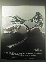 1985 Baccarat Crystal Ad - Service of Monarchs