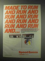 1985 Speed Queen Washer and Dryer Ad - Run and Run