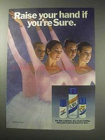 1985 Sure Deodorant Ad - Raise Your Hand If You're Sure